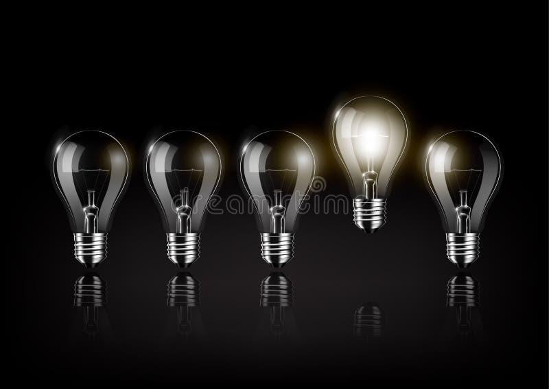 Glühende Glühlampe gehört zu vielen abgestellten Glühlampen auf schwarzem Hintergrund, Konzeptidee, transparenter Vektor stock abbildung