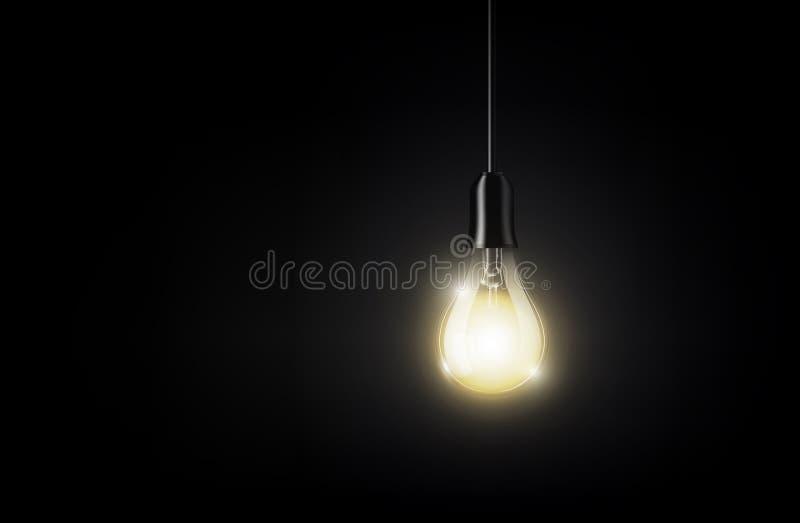 Glühende Glühlampe hängt am Hintergrund des dunklen Schwarzen für Kopienraum, lokalisierte, transparente Vektorillustration lizenzfreie abbildung