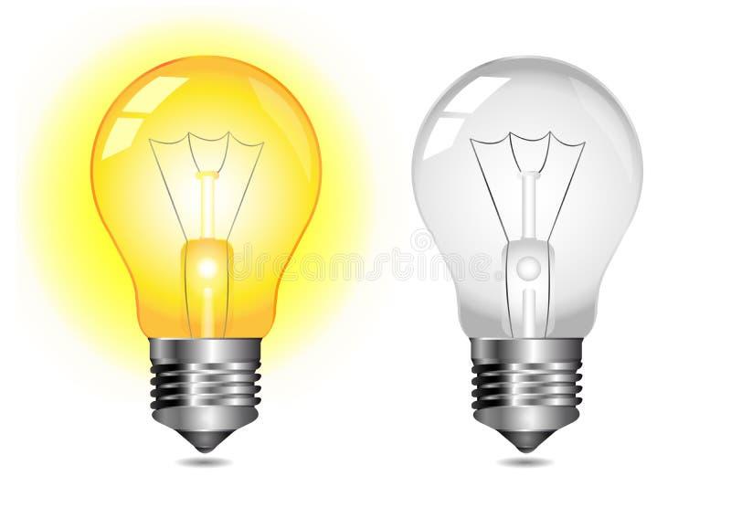 Glühende Glühlampeikone - AN/AUS lizenzfreie abbildung