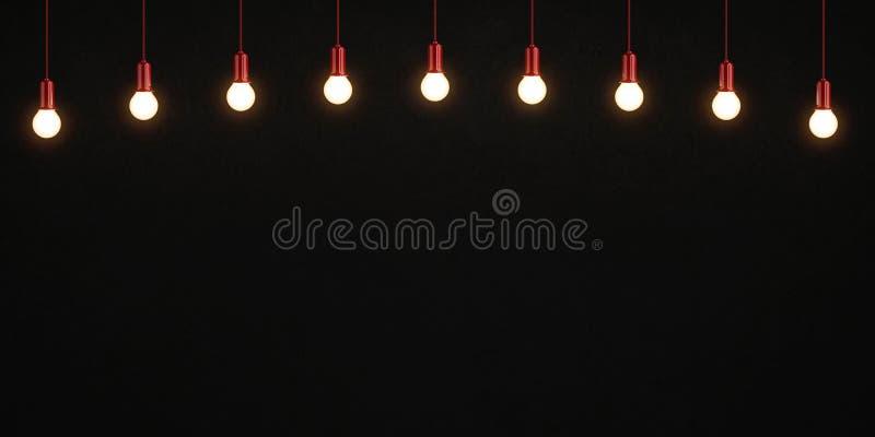 Glühende Glühlampen auf dunklem konkretem Hintergrund vektor abbildung