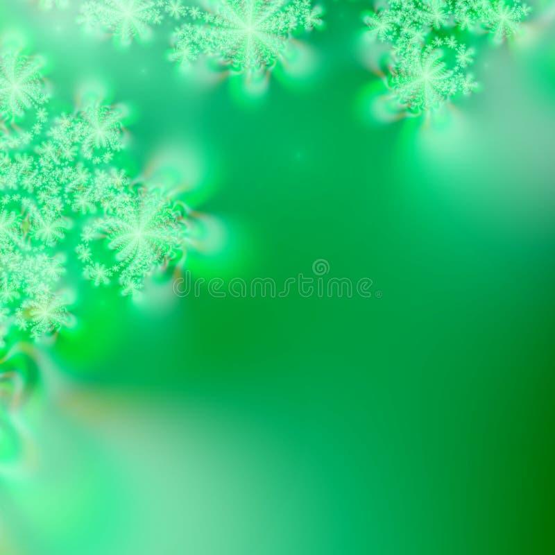 Glühende grüne Sterne oder Schneeflocken auf varigated grünem abstraktem Hintergrund lizenzfreie abbildung