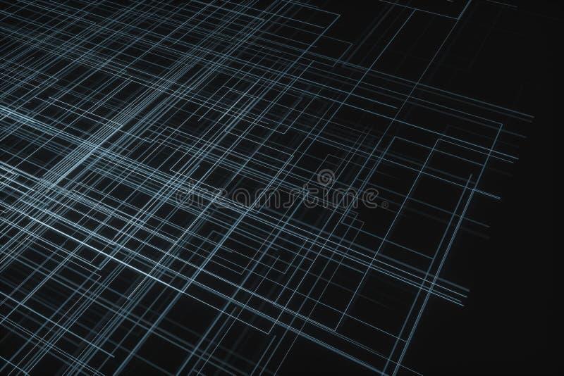 Glühende große Datenleitungen und technologischer Hintergrund, Wiedergabe 3d stockbild