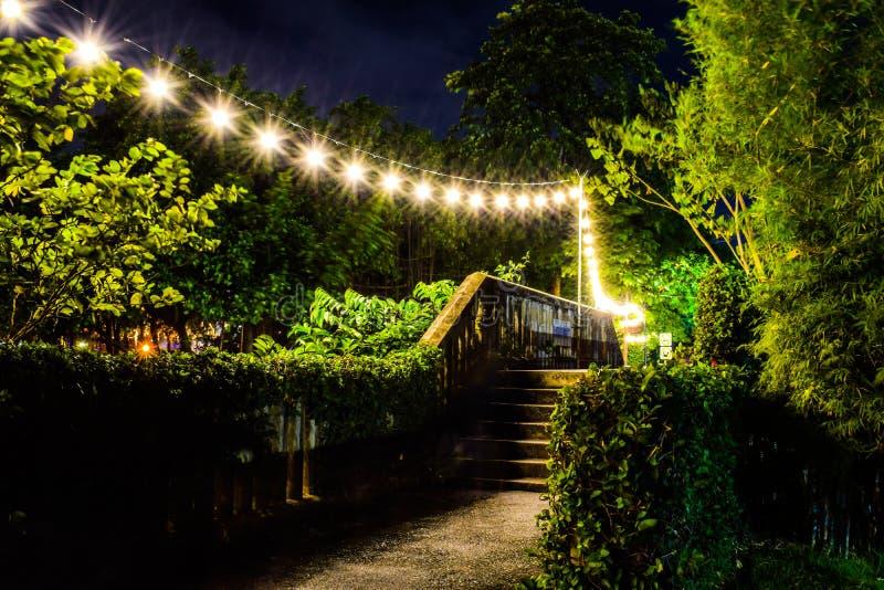 Glühende hängende Glühlampe stockfoto