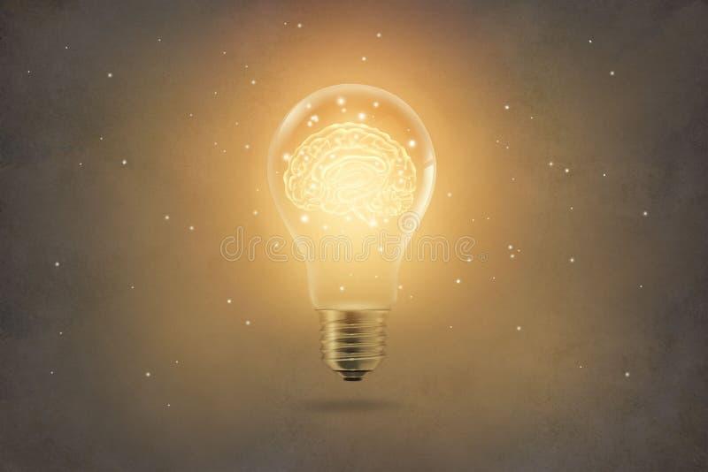 Glühende innere Glühlampe des goldenen Gehirns auf Papierbeschaffenheit backgrond lizenzfreie stockfotos