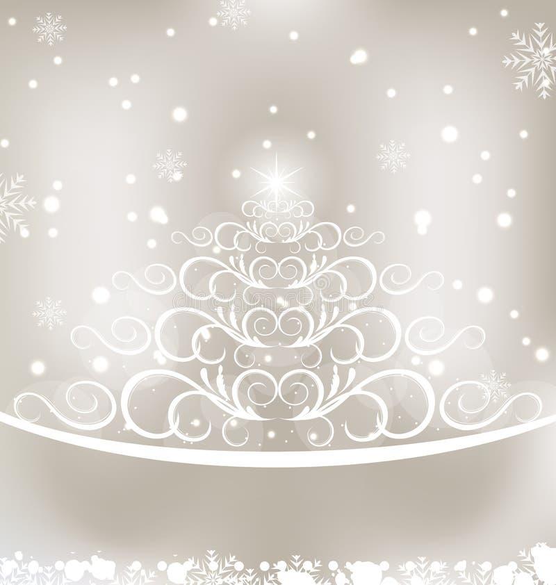 Glühende Karte der Feier mit Weihnachtskiefer vektor abbildung