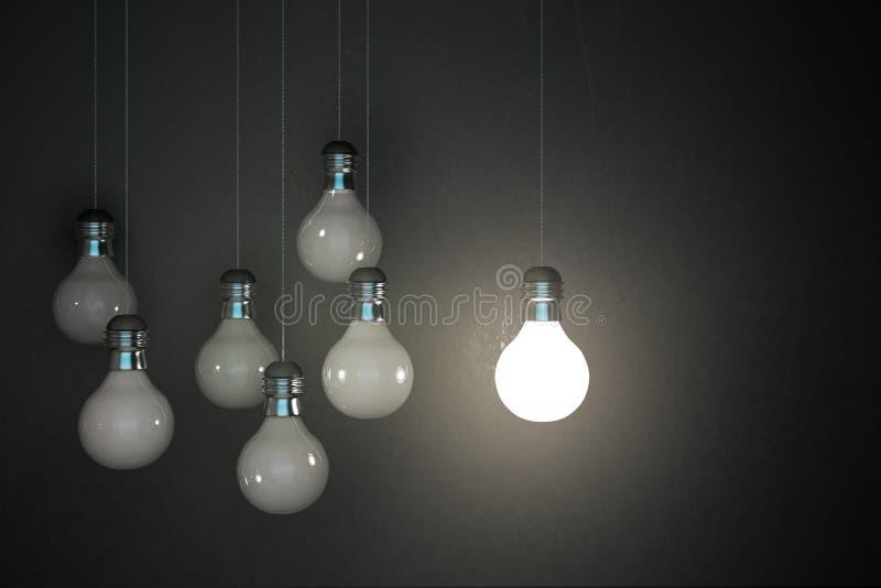 Glühende Lampen auf Betonmauer lizenzfreie abbildung