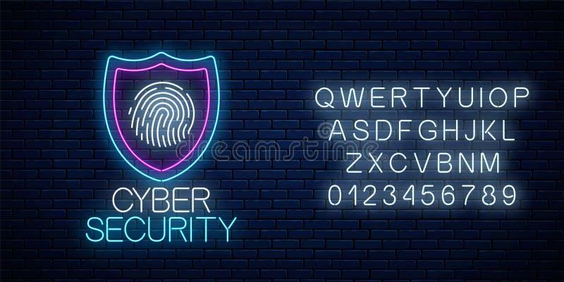 Glühende Leuchtreklame der Internetsicherheit mit Alphabet Internet-Schutzsymbol mit Schild und Fingerabdruck stock abbildung