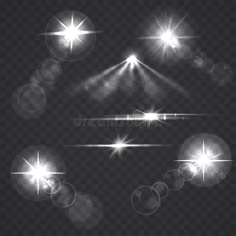 Glühende Lichteffektsterne und -blitze auf transparentem Hintergrund lizenzfreie abbildung
