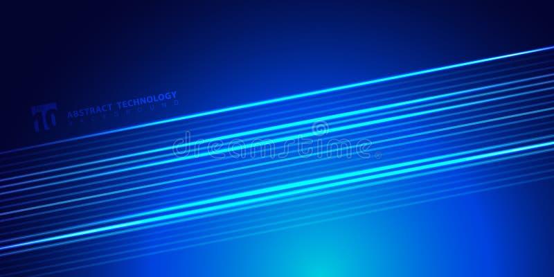 Glühende Linien des gestreiften hellen Blaus der Zusammenfassung auf dunkler Hintergrundtechnologieart Raum für Text vektor abbildung