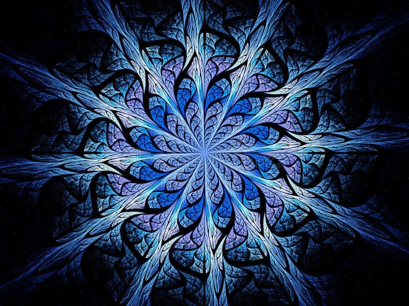 Glühende magische Buntglasverzierung des Blaus stock abbildung