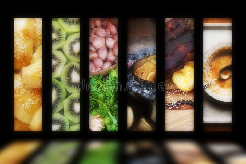 Glühende Nahrungsmittelerzeugnisanzeige stockbild