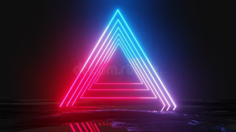 Glühende Neondreiecke auf dunklem Hintergrund lizenzfreie abbildung