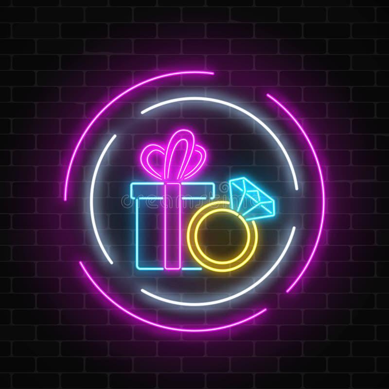 Glühende Neonfahne mit einer Geschenkbox und einem Ring mit einem Diamanten auf dunklem Backsteinmauerhintergrund lizenzfreie abbildung