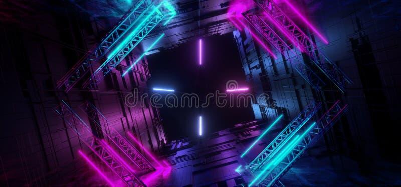 Glühende Neonlinien Purpur blauer futuristischer Sci FI-Tunnel-Motherboard-Chip Texture Reflective Background Underground-Ausländ stock abbildung