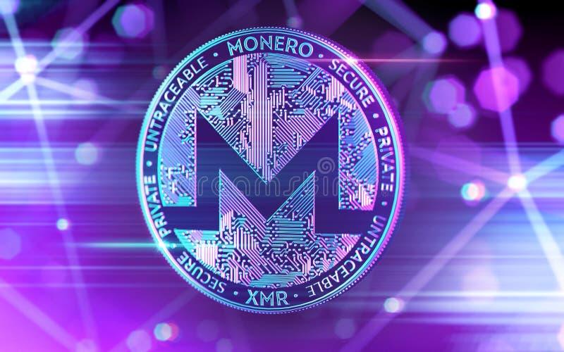 Glühende Neonmünze Monero XMR in den ultravioletten Farben mit cryptocurrency blockchain Knoten im undeutlichen Hintergrund Wiede stock abbildung