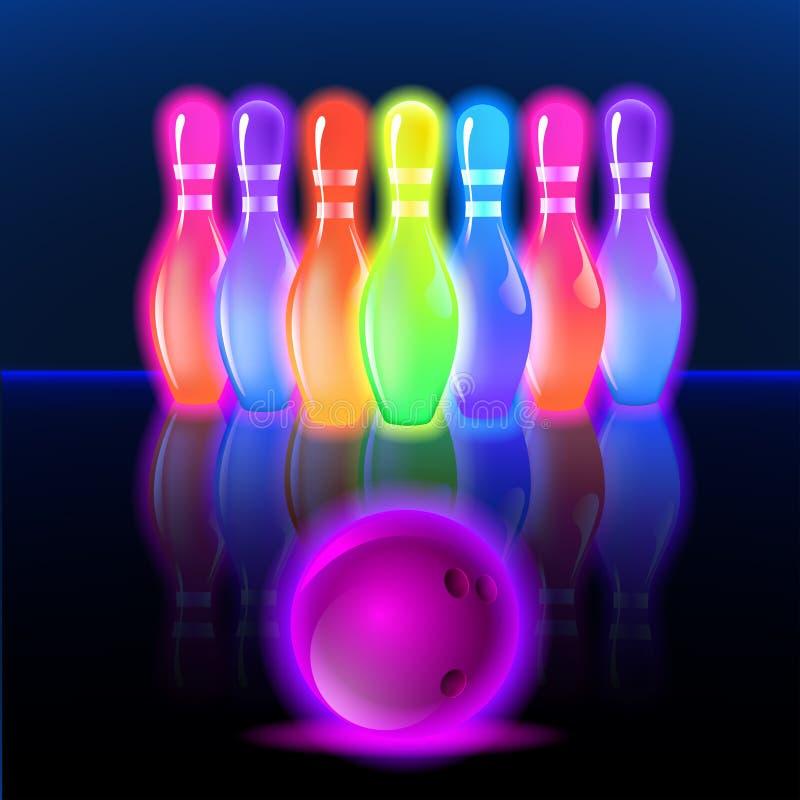 Glühende Neonstifte des Bowlingspiels Vektorclipartillustration lizenzfreie abbildung