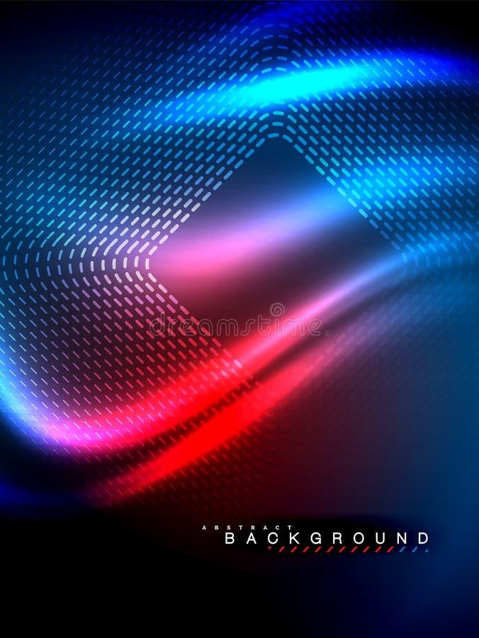 Glühende Neonwelle, magische Energie und Licht winken Hintergrund zu Auch im corel abgehobenen Betrag stock abbildung