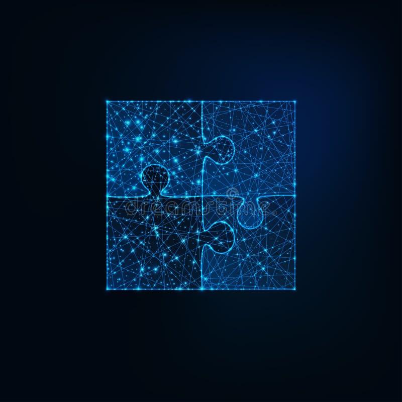 Glühende niedrige polygonale Puzzleikone von vier Stücken auf dunkelblauem Hintergrund stock abbildung