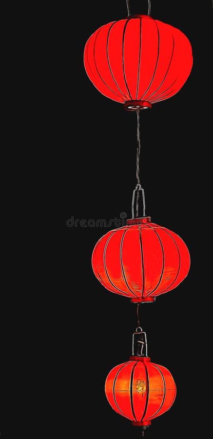 Glühende rote chinesische Laternen lokalisiert auf schwarzem Hintergrund Chinesischer Feiertagshintergrund des neuen Jahres stock abbildung
