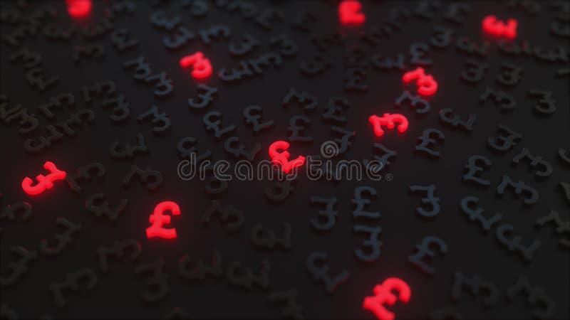 Glühende rote Sterlingszeichen des britischen Pfunds unter schwarzen GBP-Symbolen Begriffswiedergabe 3d stock abbildung