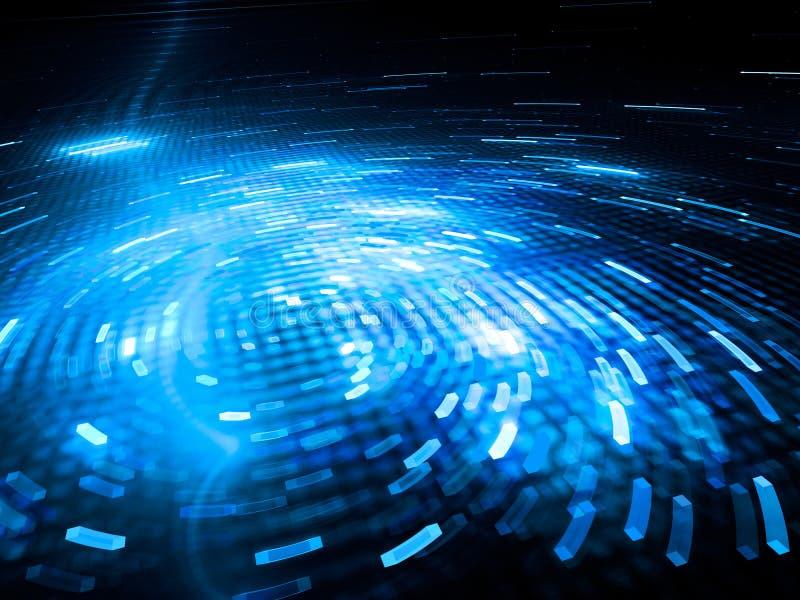 Glühende spinnende blaue große Daten lizenzfreie abbildung