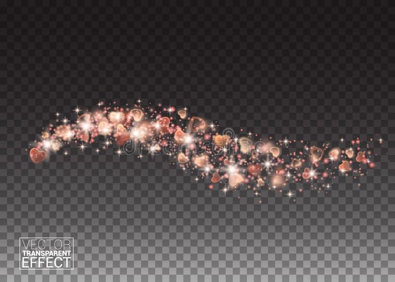 Glühende Stromwelle von funkelnden roten Herzen auf transparentem vektor abbildung