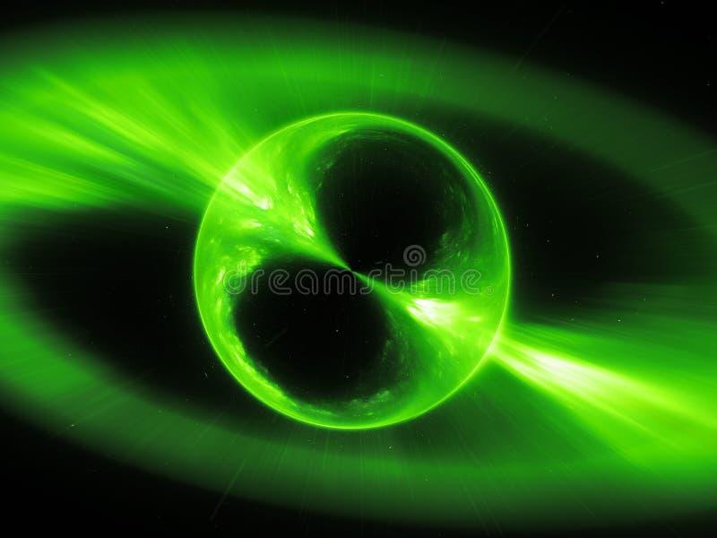 Glühende supermassive mysterios wenden in der Raumgammastrahlnexplosion, computererzeugter abstrakter Hintergrund, Wiedergabe 3D  lizenzfreie abbildung
