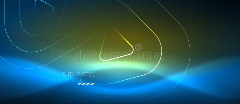 Glühende techno Neonlinien, High-Teche futuristische abstrakte Hintergrundschablone mit geometrischen Formen stock abbildung
