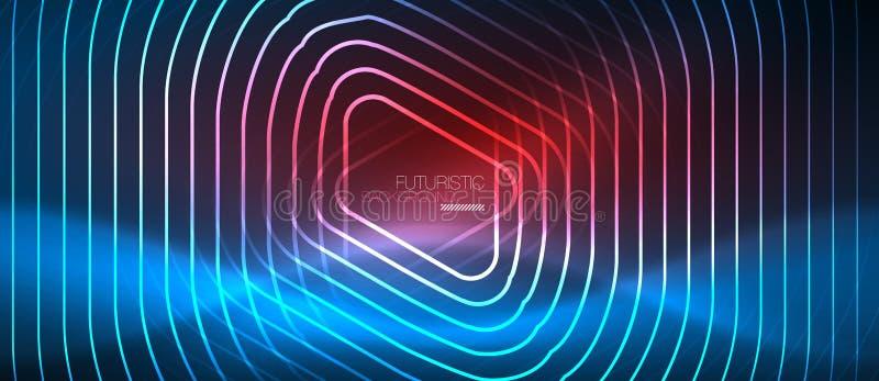 Glühende techno Neonlinien, High-Teche futuristische abstrakte Hintergrundschablone mit geometrischen Formen lizenzfreie abbildung