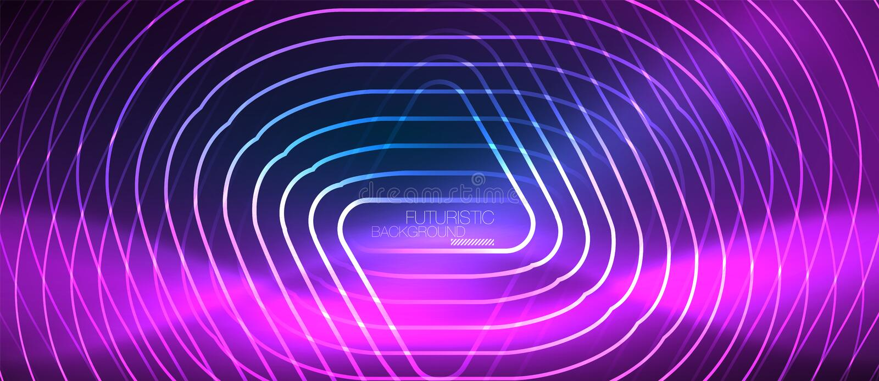 Glühende techno Neonlinien, High-Teche futuristische abstrakte Hintergrundschablone mit geometrischen Formen vektor abbildung