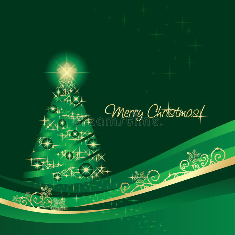 Glühende Weihnachtsbaum-Grußkarte vektor abbildung