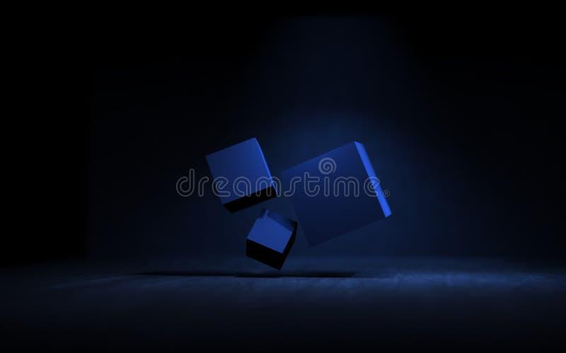 Glühende Wiedergabe der Kasten-Scheinwerferlicht-3D lizenzfreie abbildung