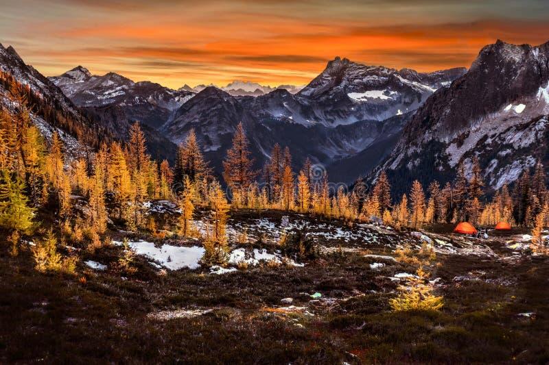 Glühende Zelte in den Bergen unter Schnee bedeckten Spitzen und goldene Bäume mit einer Kappe lizenzfreie stockfotografie