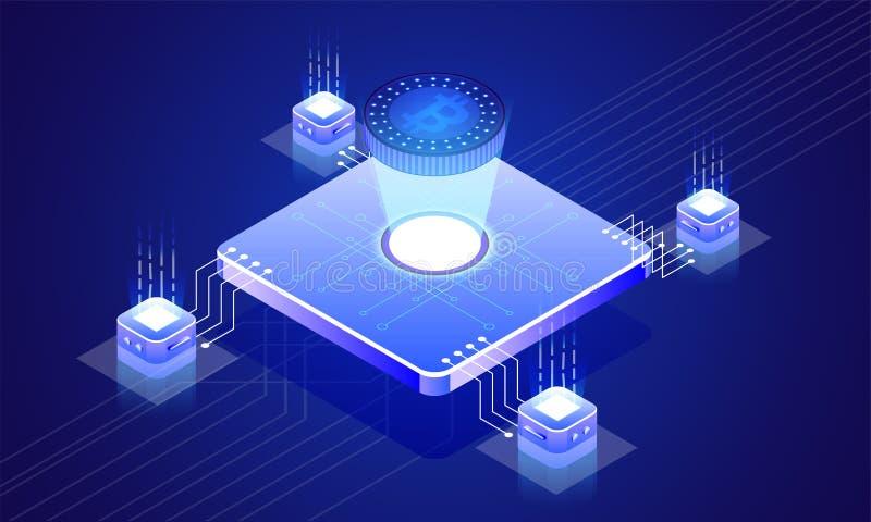 Glühender bitcoin Server angeschlossen mit lokalen Servern auf blauer Rückseite vektor abbildung