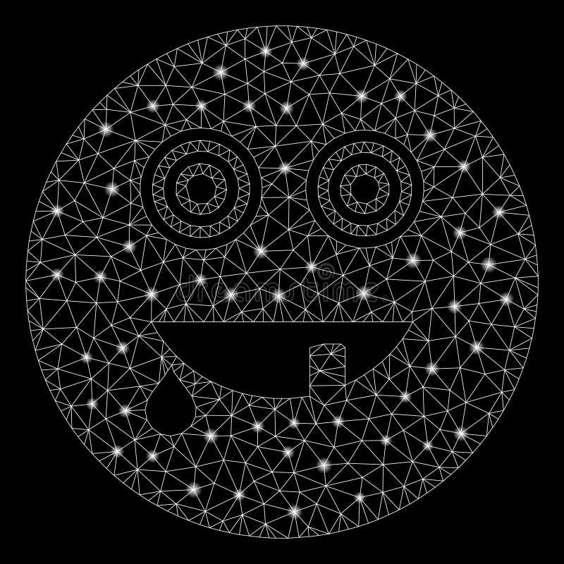 Glühender 2D Maniac Smiley mit Flare Spots stock abbildung