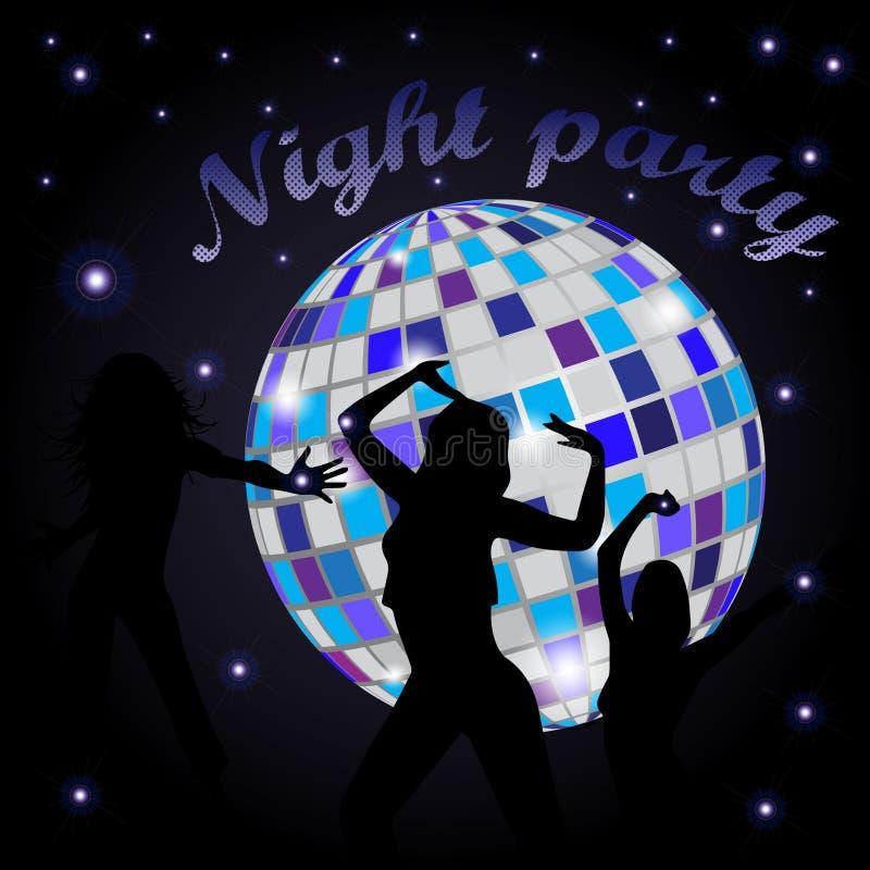 Glühender Discoball und -Tänzerinnen vektor abbildung