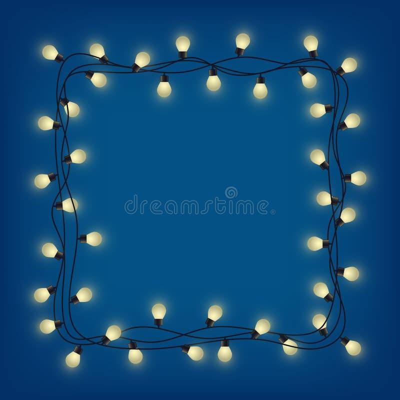 Glühender Girlandenrahmen, dekorative helle Girlande, quadrieren den Platz für Text mit glänzenden Lampen und beleuchten springen lizenzfreie abbildung