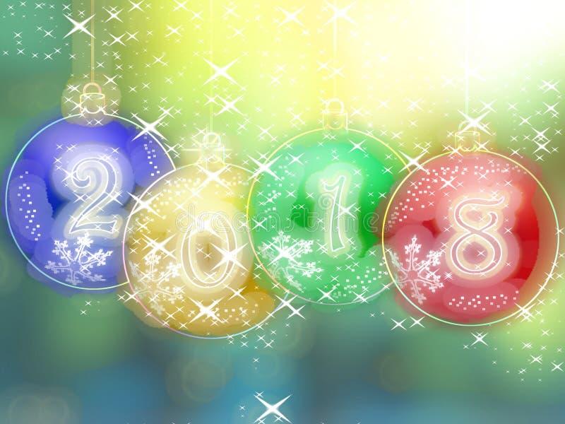 Glühender Hintergrund des guten Rutsch ins Neue Jahr 2018 stock abbildung