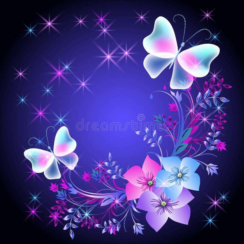 Glühender Hintergrund mit Blumen und Schmetterlingen stock abbildung