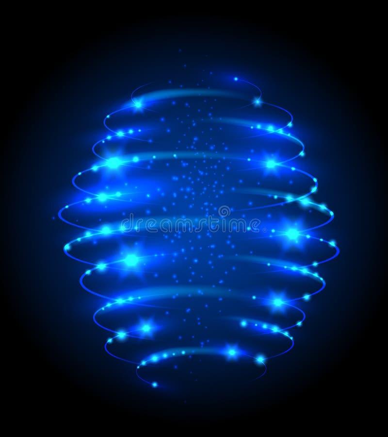 Glühender Lichteffekt des blauen Weihnachtskreises Glühenvektorhintergrund mit Funken und Beleuchtung lizenzfreie abbildung