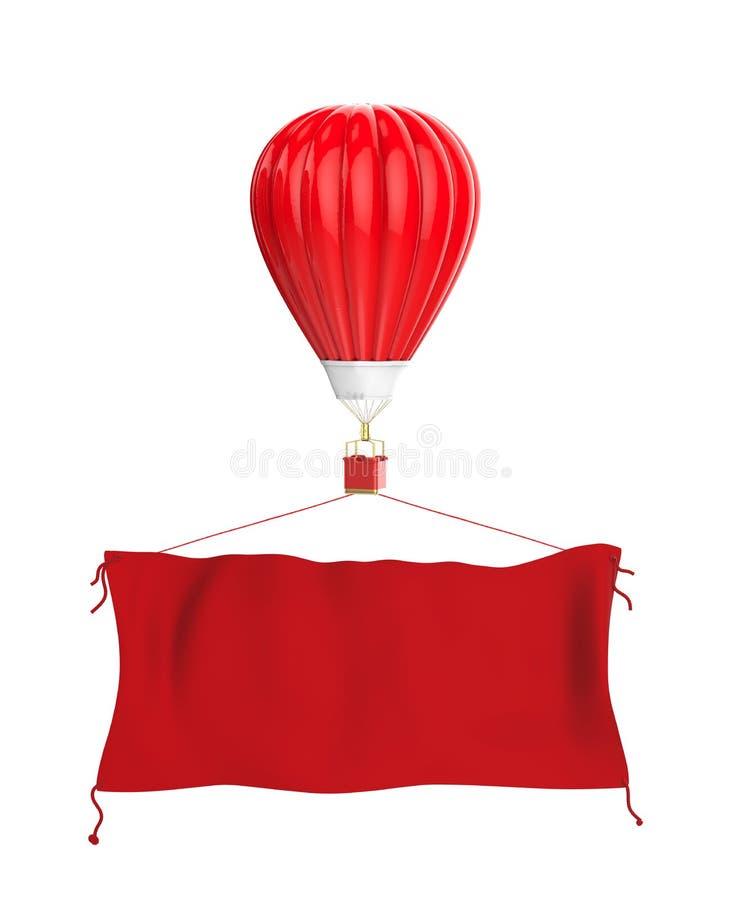 Glühender Luftballon mit roter Stofffahne stock abbildung