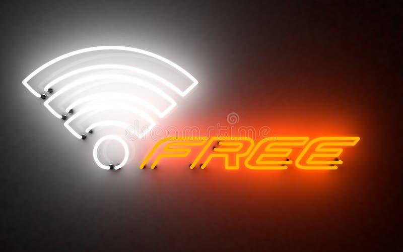 Glühender Neonlicht frei w-lan Wiedergabe 3d lizenzfreie stockfotografie
