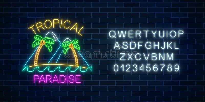 Glühender Neonsommer unterzeichnen mit zwei Palmen, Bergen, Text und Alphabet Glänzendes Sommerzeitsymbol mit Paradiesaufschrift lizenzfreie abbildung