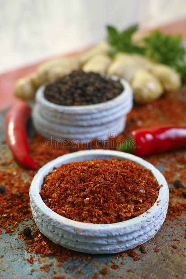 Glühender Paprika Cayennepfeffer und schwarzer Pfeffer frisch und getrocknet pulverisiert stockbilder