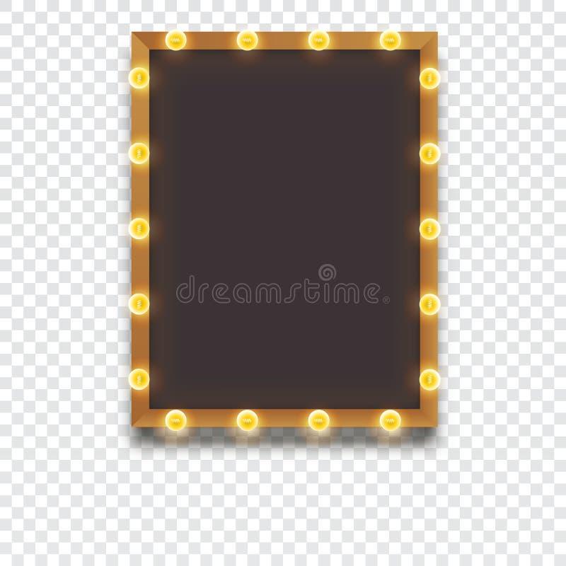 Glühender Rahmen mit Glühlampen lizenzfreie abbildung
