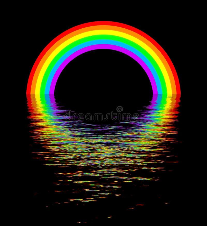 Glühender Regenbogen über Wassernachtszene stock abbildung