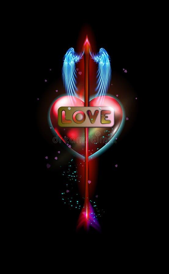 Glühender roter Fantasiepfeil der Amor durchbohrten Aufschriftliebe, Herz Amur-Attribut der Valentinsgrußtagesliebe, Metallaufkle lizenzfreie abbildung