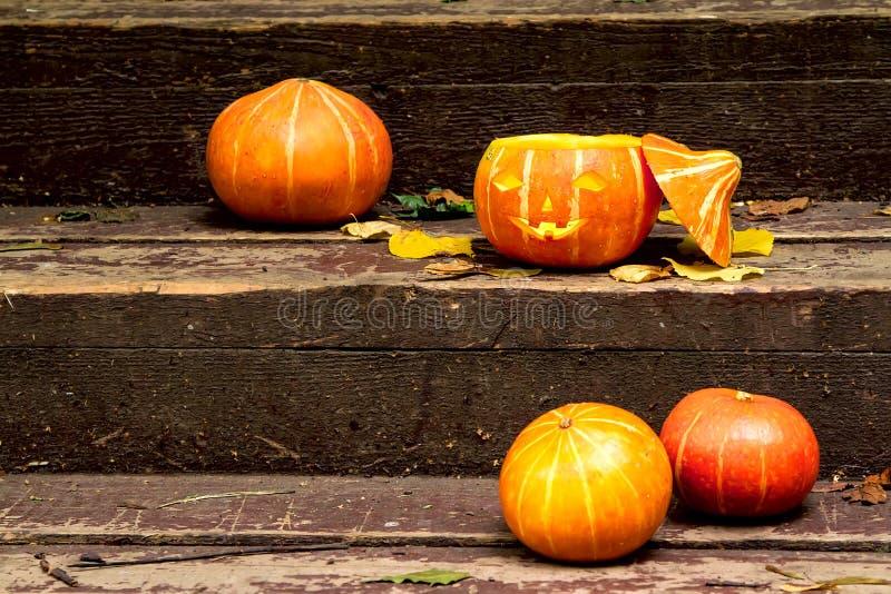 Glühender schlechter Halloween-Kürbis auf hölzernem altem Treppenhaus mit trockenem Herbstlaub stockfotografie