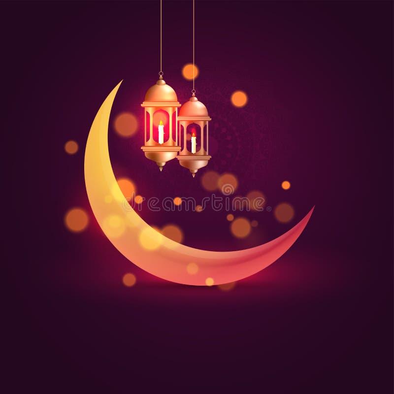 Glühender sichelförmiger Mond und hängende belichtete Laternen auf purpurrotem Hintergrund lizenzfreie abbildung