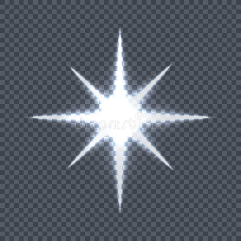 Glühender Stern auf transparentem Hintergrund-Vektor lizenzfreie abbildung